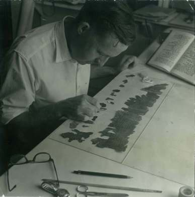 John Allegro studying the Pesher Nahum, c.1956.