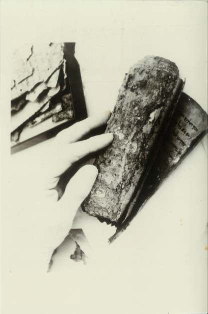 11Q Psalms Scroll, found in January 1956, before it was unrolled. Materials from Cave 11Q were not shown to the Scrolls team until 5 September 1957, 18 months after their discovery, and then only for 1 hour. This is because de Vaux and Saad put them back in the vault because money was still needed to buy them. This date and information is known thanks to the diary of Prof. Hunzinger and supported by related photos he took at the time, evidence supplied kindly by Alexander Schick, to whom we are very grateful. All the photos of Cave 11Q materials in Allegro's collection come from this 1 hour of study.