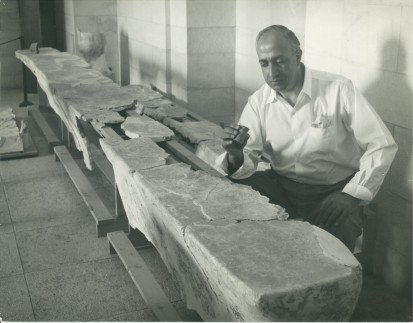 JMA 21 plastered benches in the EBAF or Amman Museum with man inkwell