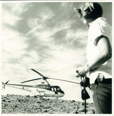 Visit of HRH King Hussein of Jordan to Ein Feshkha by helicopter. Christmas Day, 1962.